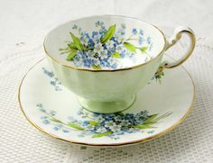 Aynsley Pale Green Tea Cup and Saucer with Blue Flowers, Antique Tea Cup, Bone China