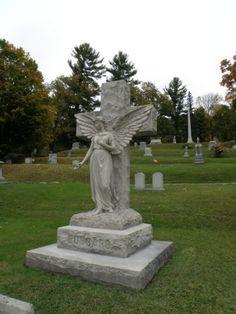 Angel and cross  Green Mount Cemetery  Montpelier, Vermont