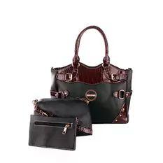 Elena 66017A Shoulder Bag with Sling Bag and Wallet (Black)