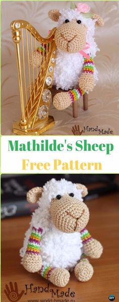 18 Amigurumi Crochet Sheep Toy Softies Free Patterns : Amigurumi Mathilde's Sheep Free Pattern – Crochet Sheep Free Patterns Crochet Gifts, Cute Crochet, Crochet Dolls, Crochet Baby, Irish Crochet, Crochet Horse, Simple Crochet, Kids Crochet, Crochet Sheep Free Pattern