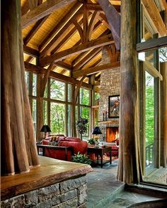 roger wade studio interior design photography of great room towards fireplace of private timber frame home with whole log posts and glass walls, franklin, tennessee, by norris architecture and pioneer log systems Cabin Homes, Log Homes, Future House, Interior Design Photography, Cabins In The Woods, Home Fashion, Style At Home, My Dream Home, Dream Big