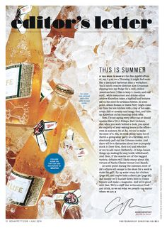 "Bon Appetit June 2014 ""Summer at the Bon Appétit Offices: Hard Work, with Just a Little Booze"" Photograph by: Christina Holmes"