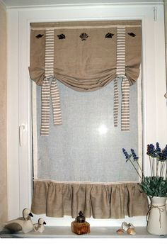 rideau cantonnire en lin aux motifs marins et aux rayures marines