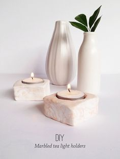 DIY Marbled Tealight Candle Holders