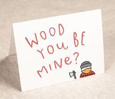 wood you be mine  | valentine's day card | Pinwheel Print Shop