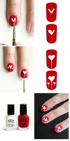 Valentines Day heart Nails www. Nail Art Esther, will you do mine like this? New Nail Art, Cute Nail Art, Nail Art Diy, Easy Nail Art, Cute Nails, Valentine's Day Nail Designs, Simple Nail Designs, Nails Design, Diy Valentine's Nails