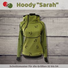 """Ebook sewing pattern for hoody, hooded shirt """"Sarah"""", women - Nahen Ideen Hooded Sweater, Hooded Jacket, Weird Fashion, Denim Fabric, Ankara Styles, Sewing For Kids, Sewing Clothes, Canada Goose Jackets, Sewing Patterns"""