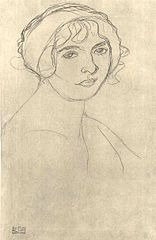 Klimt - Brustbild eines nackten Mädchen nach rechts 001.jpg