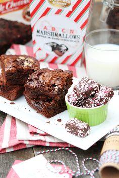 Double Chocolate Candy Cane Marshmallow Brownies Recipe via #DiscoverWorldMarket >> #WorldMarket Dessert Recipes, Entertainment Ideas