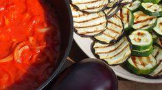 grillowane warzywa i pełnoziarnisty makaron