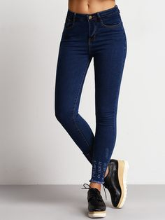 f508f7eeaad SHEIN offers Blue Slim Ripped Fringe Denim Pant   more to fit your  fashionable needs.