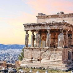 The beautiful Erechtheion is an ancient Greek temple on the north side of the Acropolis of Athens in Greece which was dedicated to both Athena and Poseidon.