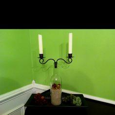 Empty wine bottle decor