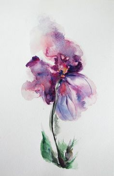 Purple Abstract Flower Original Watercolor Painting | CanotStopPainting - Painting on ArtFire