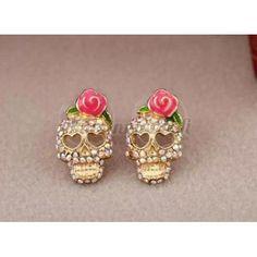 Pääkallo korvakorut Desiderata, Floral, Earrings, Flowers, Jewelry, Ear Studs, Skulls, The Originals, Ear Rings