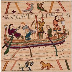 Woven in France History: Bayeux L'Embarquement: this European jacquard tapestry cushion cover is an extract of the queen Mathilde's tapestry. The original some