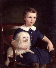 1860 Nicolai Wilhelm Marstrand - Study of a Boy with Pet Dog