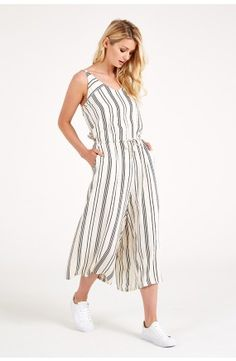Soaked in Luxury Most V-Neck Stripe Jumpsuit