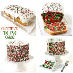 Cut into these festive Christmas Tie-Dye Cakes to reveal swirls of red, white, and green color. These holiday desserts are as fun to make as they are to eat. This holiday season, have some fun making festive looking tie-dye pound cakes or layer cakes. Each cake has swirls of red, white and green throughout and sprinkles...Read More »