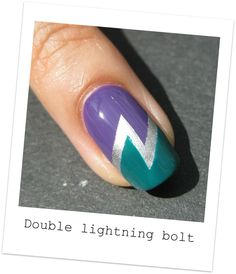 Nailside: Tutorial: Double lightning bolt tape mani