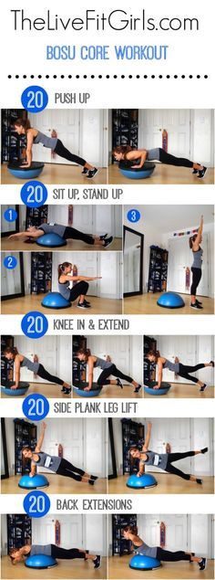 You can use this bosu ball in the gym or at home. This quick full body fitness routine will help you to get stronger with extra attention on your core muscles. Using a bosu ball is one of the best exercise in my opinion! Fitness Workouts, Bosu Workout, Fitness Motivation, Lower Ab Workouts, At Home Workouts, Workout Exercises, Core Workouts, Ball Workouts, Workout Routines