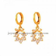 aretes de cristal de dorado para mujer-BREGG101419
