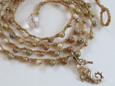 Long Crochet Bohemian Necklace, Neutral Colors, Beach Themed, Seahorse Pendant, Layering Jewelry