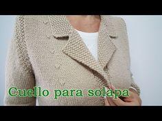 Cómo tejer un cuello para solapa - YouTube Knitting Videos, Knitting Stitches, Baby Knitting, Knitting Patterns, Crochet Coat, Crochet Mittens, Men Sweater, Blazer, Sewing