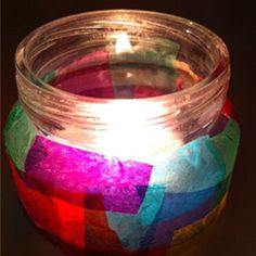 Stained glass candleholder  What you need: Colored tissue paper,  Baby food jars, Glue.  This gorgeous project is kid friendly and so pretty that no one will believe that it was so easy. Gather up your leftover jars and wrapping supplies and let your kids use their imagination to create these creative candleholders
