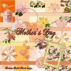 With a Russian/Dutch heart: Mother's Day. Colección de papeles y elementos en colores naranja.