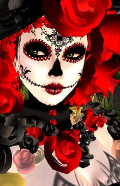 DIA De Los Muertos Face | eX + Dia De Los Muertos Black October Blog Look 1 face | Flickr ...