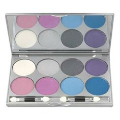 Kryolan Cool Viva Pro Pressed Powder Palettes, 9108 -FR1 (8 Colors) at facepaint.com. Cool Kryolan Viva Pro Palette comes with 8 brilliant Viva Pro colors (0.12 oz / 3.5 gm) in a sturdy silver plastic case with mirror.    Kryolans VIVA makeup is a new make-up concept which can be used on eyes, face or body. This Kryolan makeup is highly pigmented makeup with pearlescent effects created by Mica pigments. No metallic pigments are used.