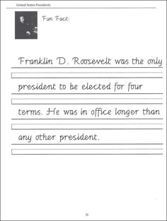 Presidents sheets | 44 United States Presidents Character Writing Worksheets Getty Dubay ...