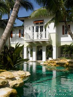West Indies Estate by Affiniti Architects - Pool View West Indies Decor, West Indies Style, British West Indies, Bermuda Shutters, British Colonial Decor, Caribbean Homes, Tropical Design, Cool Pools, Estate Homes