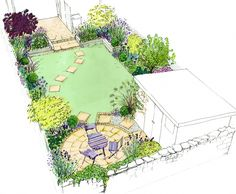 Idea for a small back town garden. A curving lawn, with a circle patio, shed and. design layout Idea for a small back town garden. A curving lawn, with a circle patio, shed and. Small Garden Plans, Garden Design Plans, Small Garden Design, Narrow Garden, Lawn And Landscape, Landscape Plans, Landscape Design, Landscape Photos, Backyard Vegetable Gardens