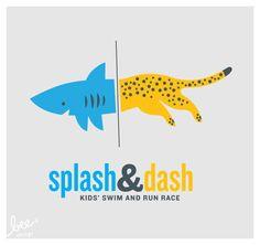 TRAIN FOR AQUATHON. Splash & Dash logo designed for a kids' biathlon by Bee Things