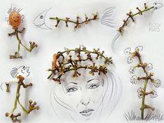 рисунки бразильского художника Виктора Нунеса, которые созданы с помощью продуктов питания и повседневных бытовых предметов