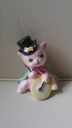 43b759dc81e6 HTF Anthropomorphic pink kitten Salt and Pepper shaker   NAPCO Vintage Cat