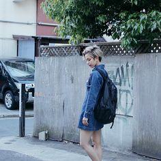ドロップスナップ!UNA (ユーナ) , モデル / アーティスト   droptokyo Kanken Backpack, Normcore, Denim, Lady, Artist, Model, Jackets, Fashion, Down Jackets