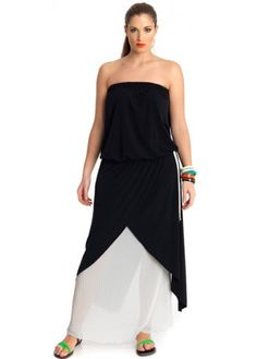 Fantastic MAT Fashion Black & Cream Pleated Strapless Maxi Dress Comes In Sizes 14-24:http://bit.ly/1rE6LFy