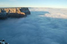 Grand Canyon National Park A view of the Grand Canyon filled with fog due to a temperature inversion.