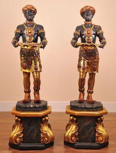 Pair Antique Italian carved venetian Blackamoor statues For Sale |