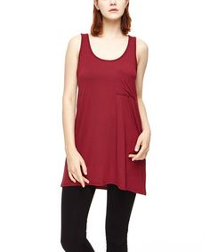 Look at this #zulilyfind! Wine Organic Scoop Neck Swing Tunic Tank #zulilyfinds