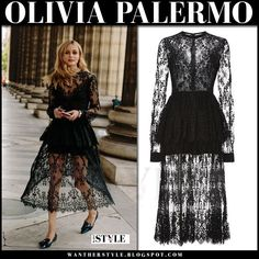 Olivia Palermo in black lace dress and black flats