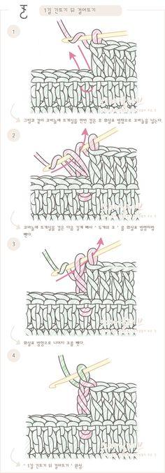 푸미스토리 손뜨개 뜨개실 털실 핸드메이드샵 - 코바늘 강좌 [[1길긴뜨기뒤걸어뜨기]코바늘 도안기호와 뜨는 방법. 뜨개질(손뜨개) 무료]