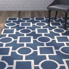 Adela Blue Geometric Wool Hand-Tufted Area Rug