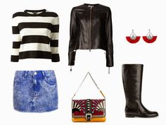 Uma combinação clássica de mini saia jeans e bota. Pra quem pode e adora colocar as pernas de fora! A bolsa com estampa e textura dá um toque criativo à montagem. Mais em www.marinabruno.com.br
