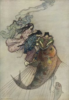 llustration by Warwick Goble for 'Green Willow and Other Japanese Stories' by Grace James. Published 1910 by MacMillan & Co. Ltd.