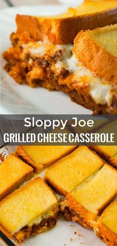 Sloppy Joe Grilled Cheese Casserole Sloppy Joe Grilled Cheese Casserole is an easy ground beef recipe perfect for weeknight dinners. This kid friendly dinner is loaded with ground beef tossed in homemade sloppy joe sauce and topped with… Ground Beef Recipes For Dinner, Dinner With Ground Beef, Recipes With Ground Beef Kid Friendly, Slow Cooker Sloppy Joes, Homemade Sloppy Joe Sauce, Best Sloppy Joe Recipe, Grilled Cheese Sloppy Joe, Grilled Cheeses, Beef Casserole Recipes