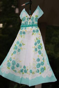 vintage hanky dresses | Vintage Hankie Dress Teal Roses with Vintage Rhinestone Button. $15.50 ...
